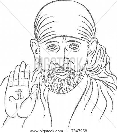 Shirdi Sai Baba Stipple Effect Raster Illustration