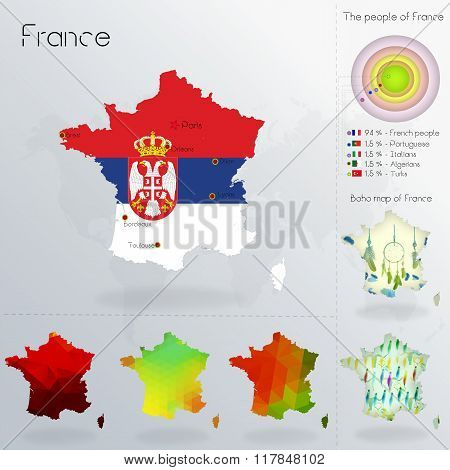 Modern Geometric And Political Map Of France. Serbs Immigration To France. Serbs Diaspora In France.