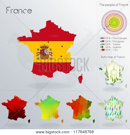 Modern Geometric And Political Map Of France.spanish People Immigration To France. Spanish People Di