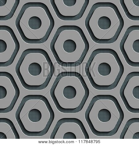 Seamless Hexagon Pattern. Vector Gray Background