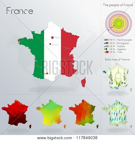 Modern Geometric And Political Map Of France.  Italians People Immigration To France.  Italians Peop