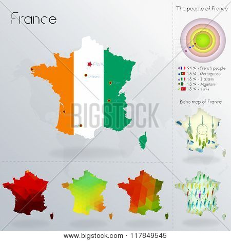 Modern Geometric And Political Map Of France. Akan People Immigration To France. Akan People Diaspor