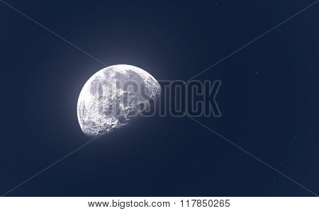Bright Moon Or Planet And Stars