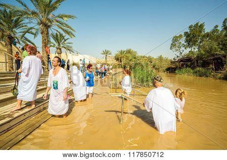 Baptism In A River Of Jordan, Israel
