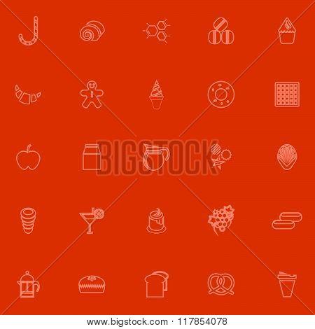 Sweet Food Orange Line Icons