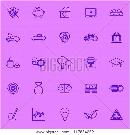 Sufficient Economy Violet Line Icons