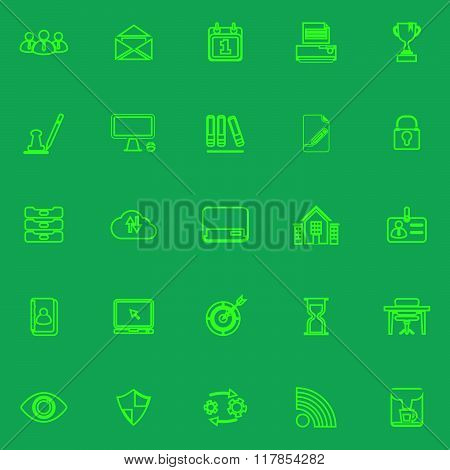 Business Management Green Line Icons