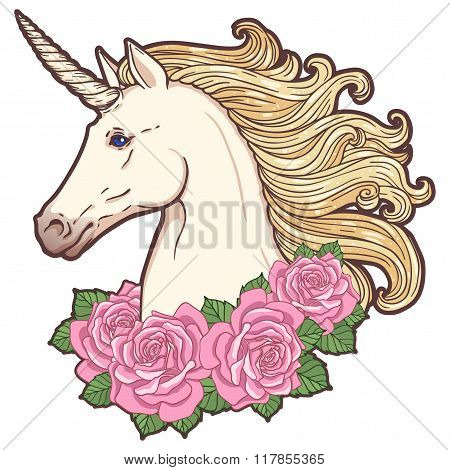 Beautiful unicorn head with roses