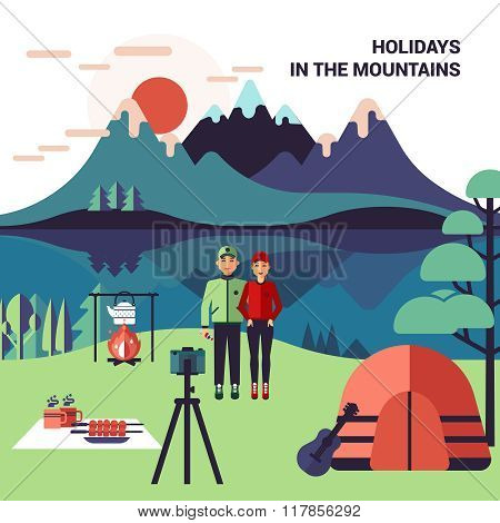 Camping In Mountains Vector Illustration