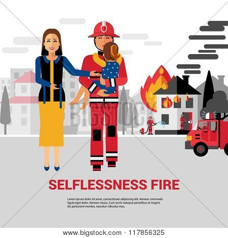 Firefighter Rescuing Child Vector Illustration