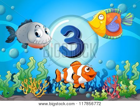 Flashcard number three with 3 fish underwater illustration