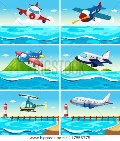 Airplanes and helicopters over the ocean illustration