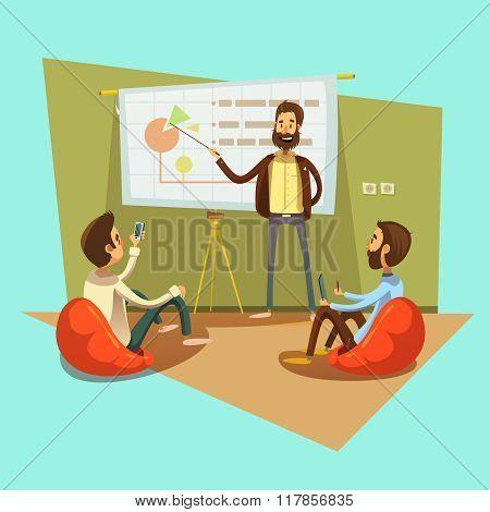 Coworking Cartoon Illustration