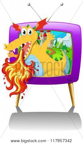 Television screen with dragon blowing fire illustration