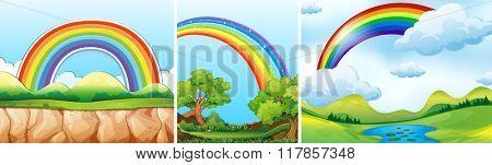 Nature scenes with rainbow illustration