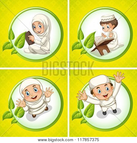 Muslim boy and girl praying illustration