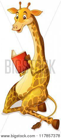 Cute giraffe reading book illustration