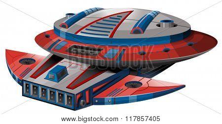 Round spaceship on white background illustration