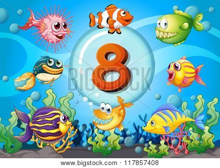 Flashcard number eight with 8 fish underwater illustration