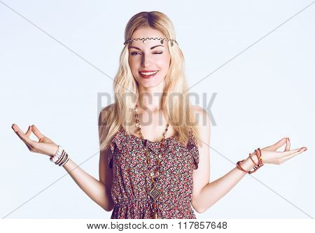 Woman doing yoga, meditates, relax. Boho hippie