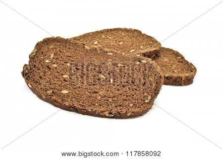 some slices of rye bread on a white background
