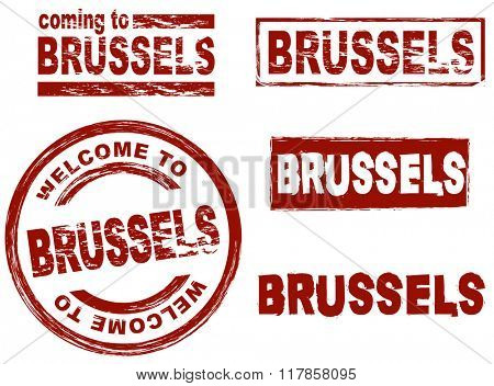 Set of stylized ink stamps showing the city of Brussels