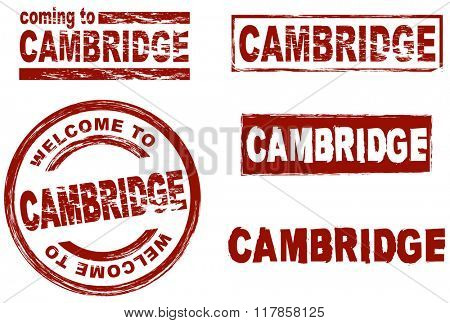 Set of stylized ink stamps showing the city of Cambridge