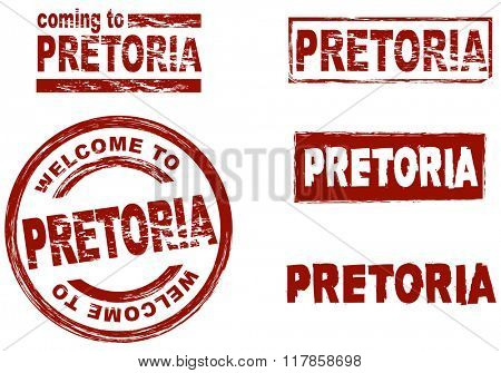 Set of stylized ink stamps showing the city of Pretoria