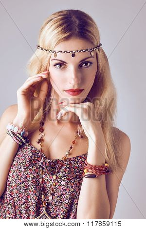 Hippie boho woman sensually looks. Romantic style