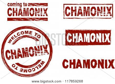 Set of stylized ink stamps showing the city of Chamonix