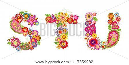 Floral alphabet with letter S, T, U