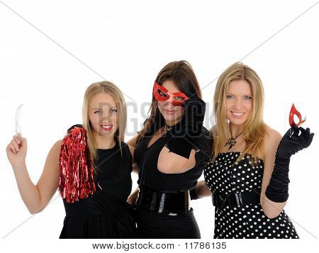 Group Of Three Beautiful Elegant Woman Celebrating With Carnival Masks. Isolated On White Background