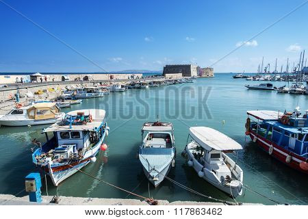 Boat dock of Heraklion port. Crete.Greece 16.09.2015.