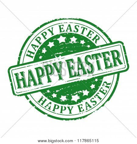 Damaged Green Round Seal With The Inscription - Happy Easter - Vector