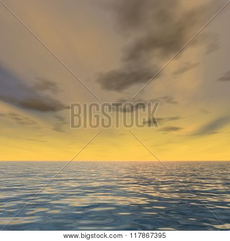 Concept or conceptual sunset or sunrise background with the sun close to horizon and sea or ocean