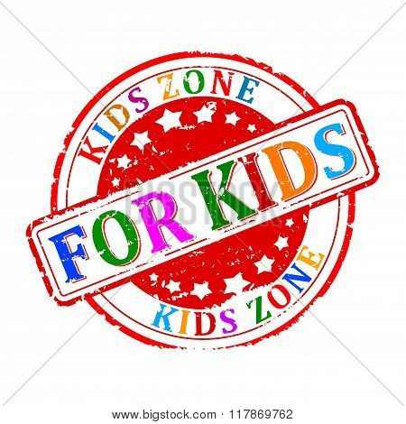 Damaged Round Colored Stamped - For Kids, Kids Zone - Vector