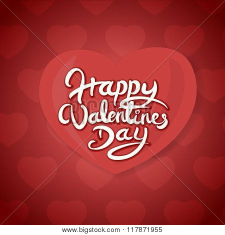 Happy Valentines Day Hand Drawn Lettering Vector design.