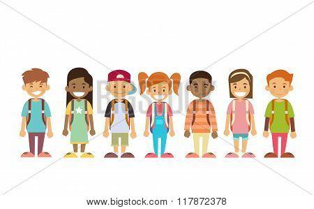 School Children Group Standing In Line