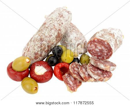 Italian Salami Sausages With Olives And Peppers