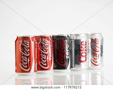Kuala Lumpur Malaysia Jan 18th 2016 Various type of Coca Cola drinks. Coca Cola drinks are produced and manufactured by The Coca-Cola Company, an American multinational beverage corporation.