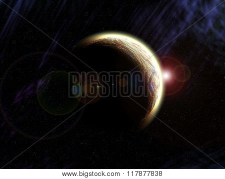 Planet earth from the space with stars. Some elements of this image furnished by NASA