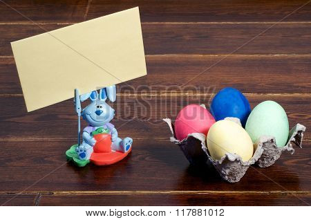 Colorful Easter Eggs And Bunny With Greeting Card