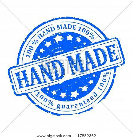 Damaged Blue Round Stamp With The Inscription - Hand Made - Vector