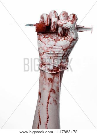 Bloody Hand Holding A Syringe, Bloody Hands Of The Doctor, Bloody Syringe, Large Syringe, Doctor Kil