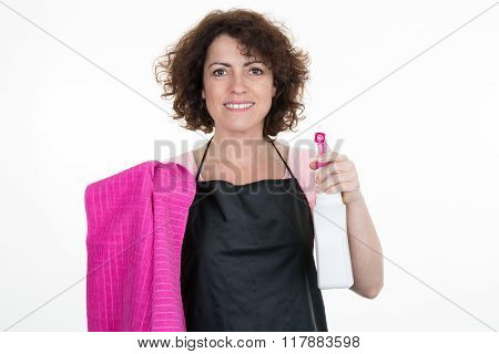 Woman With Cleaning Equipment Ready To Clean - On White.