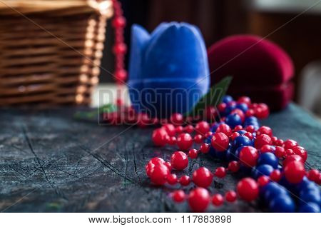 Blue And Red Beads