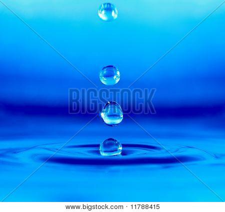 Falling Drop Of Blue Water