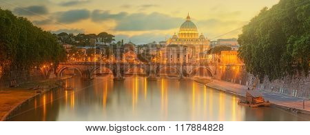 Sunset at The Papal Basilica of Saint Peter in the Vatican city