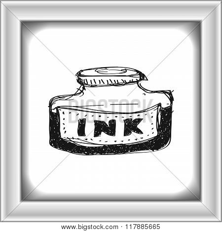 Simple Doodle Of A Bottle Of Ink