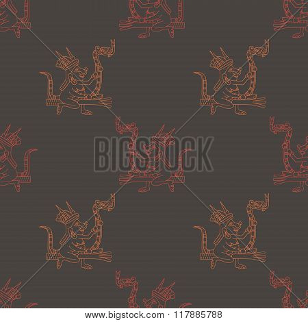 Seamless pattern with symbols from Aztec codices